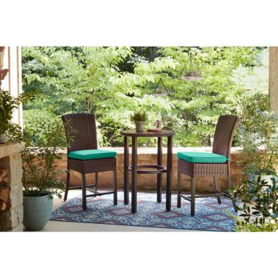 Harper Creek Brown 3-Piece Steel Outdoor Patio Bar Height Dining Set with CushionGuard Seaglass Turquoise Cushions