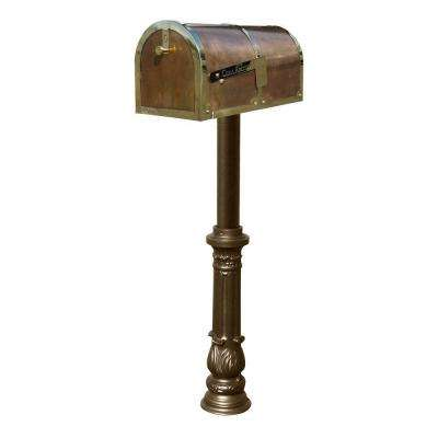 MB-3000 Polished Brass Non-Locking Mailbox with Bronze Hanford Post System