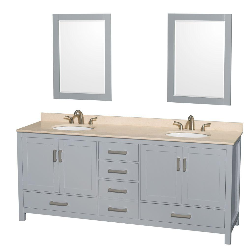 Ivory Marble Countertop Undermount Oval Sink Wyndham Collection Sheffield 60 inch Single Bathroom Vanity in White and 58 inch Mirror