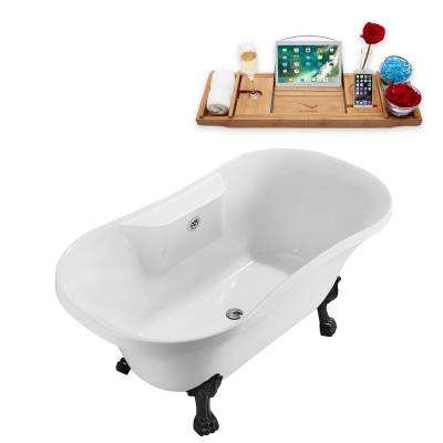 60 in. Acrylic Clawfoot Non-Whirlpool Bathtub in White