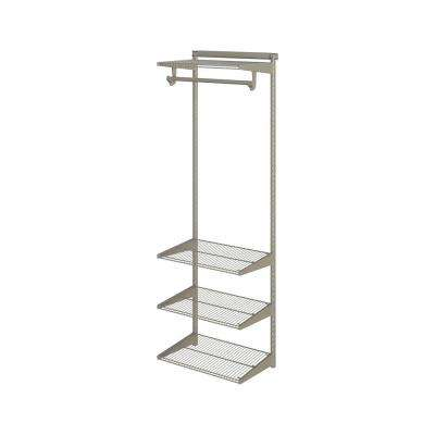 Closet Culture 16 in. x 24 in. W x 78 in. H Wire Closet System with 4 Champagne Nickel Shelves