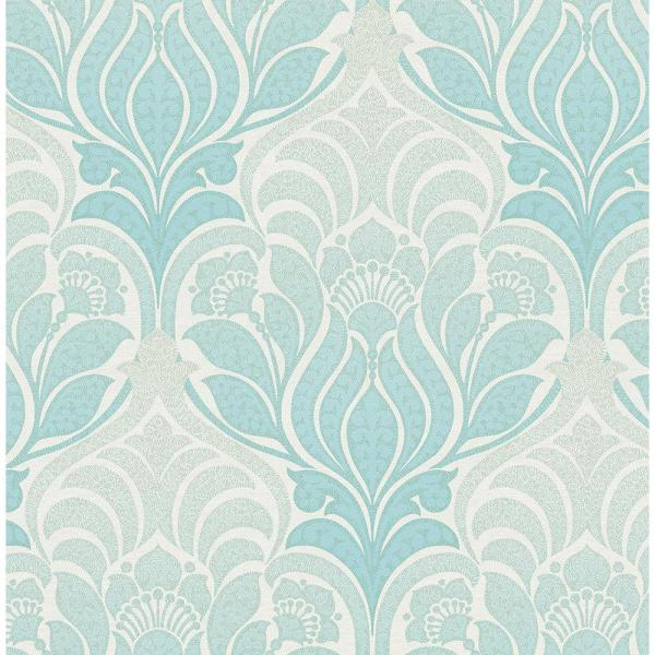 Kenneth James Twill Aqua Damask Wallpaper Sample 2671-22402SAM