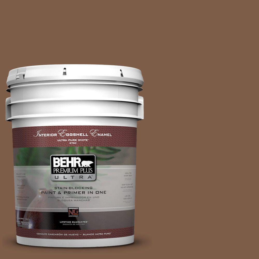 BEHR Premium Plus Ultra 5-gal. #BXC-65 Outback Brown Eggshell Enamel Interior Paint