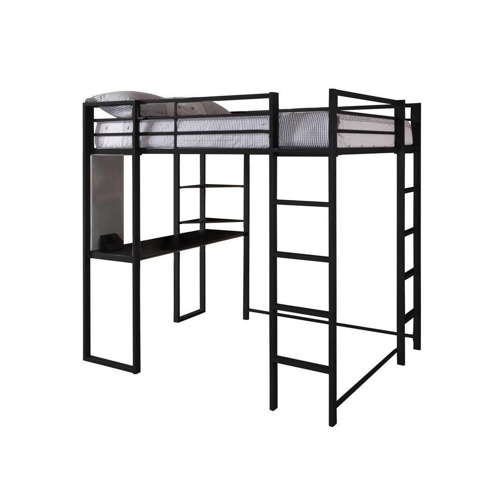 Dhp Black Full Metal Loft Bed Desk Black Finish Alana