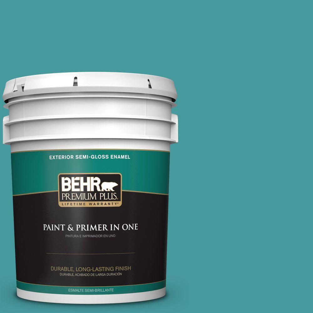 5-gal. #510D-6 Aquatic Green Semi-Gloss Enamel Exterior Paint