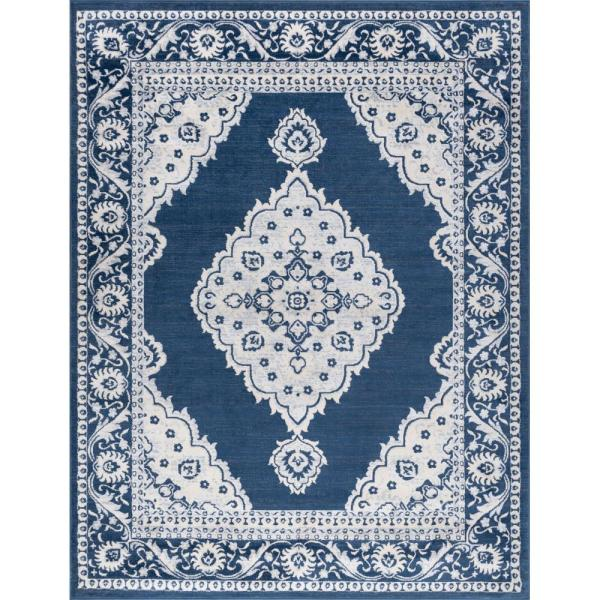 Tayse Rugs Madison Navy 7 Ft 6 In X 9 Ft 10 In Area Rug Mdn3807 8x10 The Home Depot