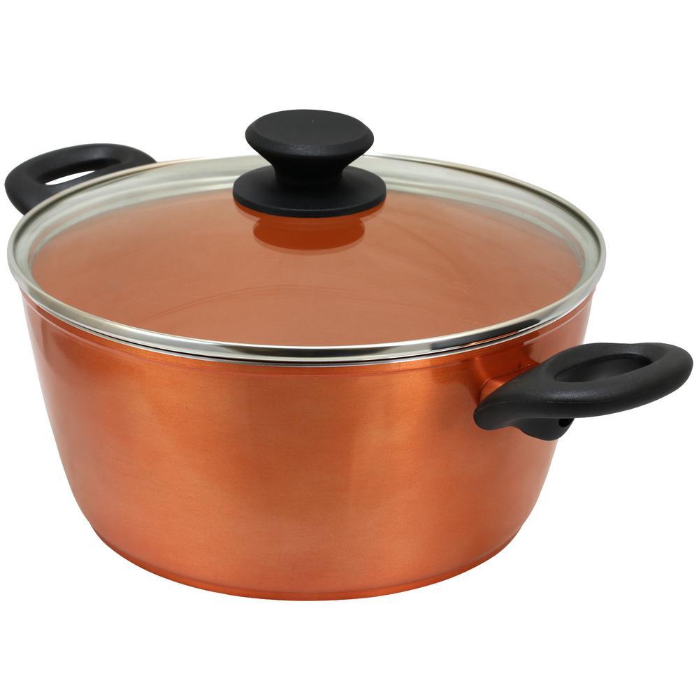 Hummington 4.5 qt. Round Aluminum Ceramic Nonstick Dutch Oven in Metallic Copper with Glass Lid