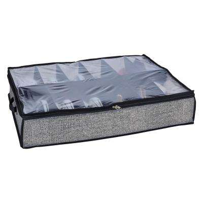 29 in. x 24 in. x 6 in. 12 Pair Under the Bed Shoe Storage Box in Black