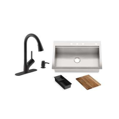 Lyric Workstation 33 in. Dual Mount Stainless Steel Single Bowl Kitchen Sink with Setra Smarthome Kitchen Faucet