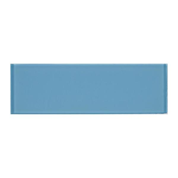 Royal Azure 4 in. x 12 in. x 8mm Glossy Glass Wall Tile (5 sq. ft. / case)