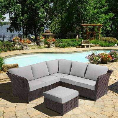 Clara 3-Piece Wicker Outdoor Sectional Set with Olefin Grey Cushions