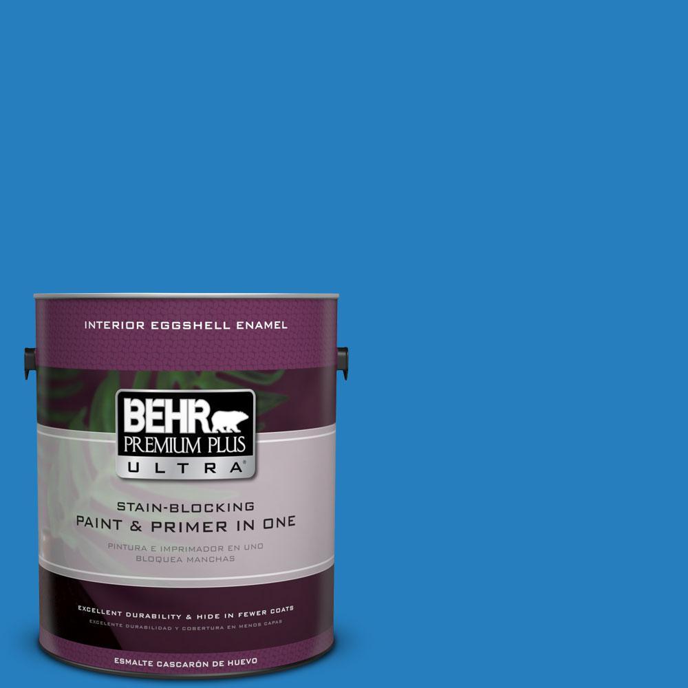 BEHR Premium Plus Ultra 1-gal. #P510-6 Brilliant Blue Eggshell Enamel Interior Paint
