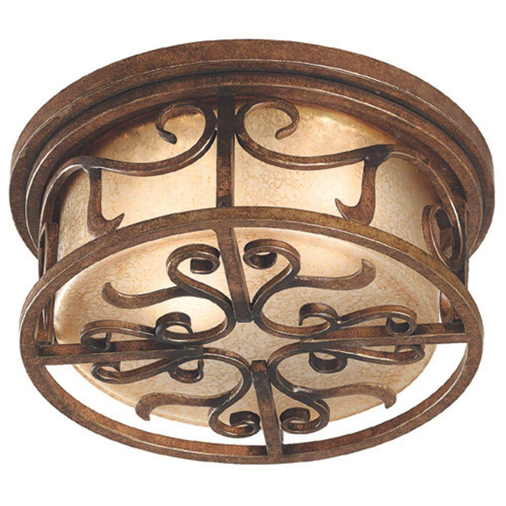 Kenroy Home Verona 2-Light 6 in. Aged Goden Copper Flush Mount-DISCONTINUED