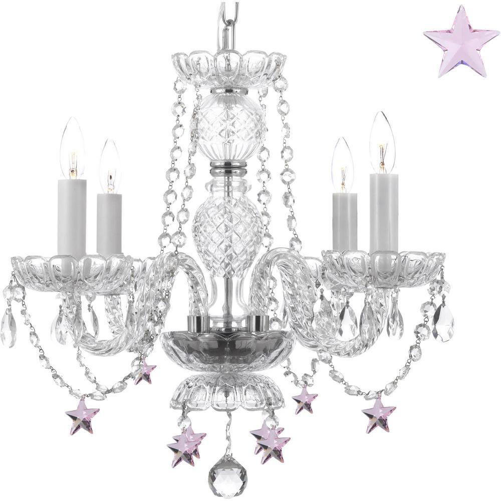 Empress Crystal 4-Light Crystal Chandelier with Pink Crystal Stars
