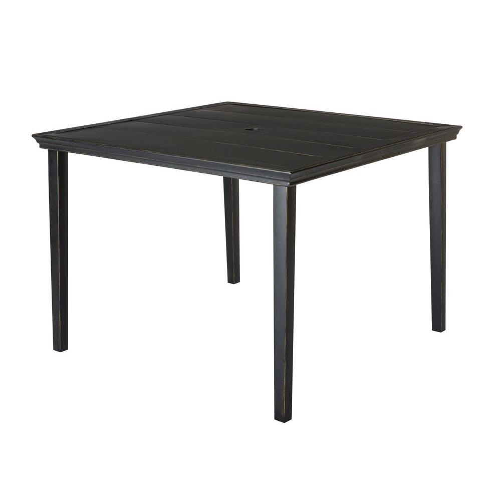 Hampton Bay Oak Heights Metal Square Outdoor Patio Dining Table D12237 TQ    The Home Depot