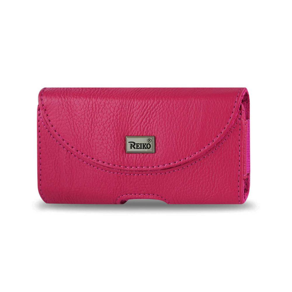 REIKO Small Horizontal Leather Holster in Hot Pink