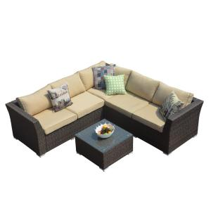 DIRECT WICKER Puerta 4-Piece All-Weather Wicker Patio Sectional Sofa ...