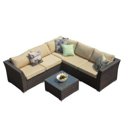 Puerta 4-Piece All-Weather Wicker Patio Sectional Sofa Set with Beige Cushion and Table
