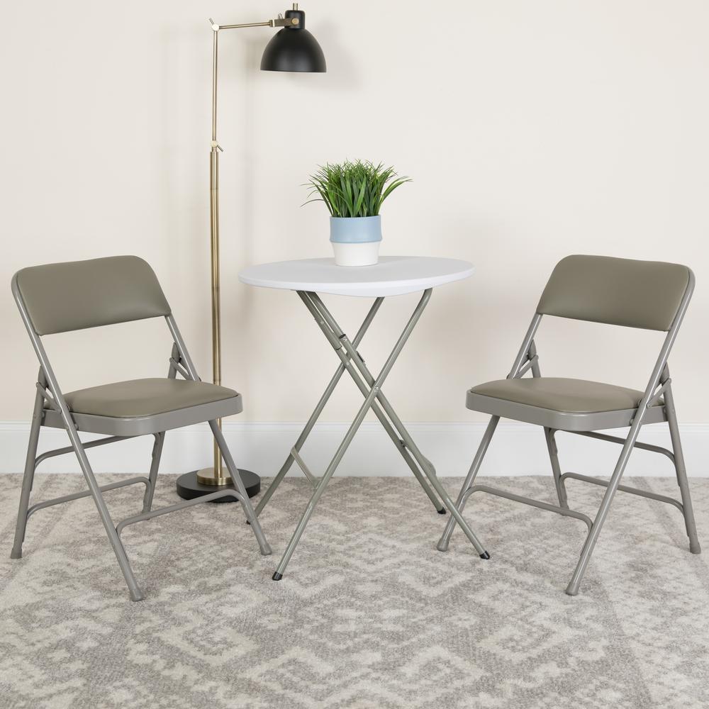 Flash Furniture Hercules Series Curved Triple Braced & Double Hinged Gray Vinyl Upholstered Metal Folding Chair