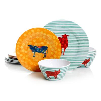 Life on the Farm 12-Piece Melamine Mint Green/Orange Dinnerware Set (Service for 4)