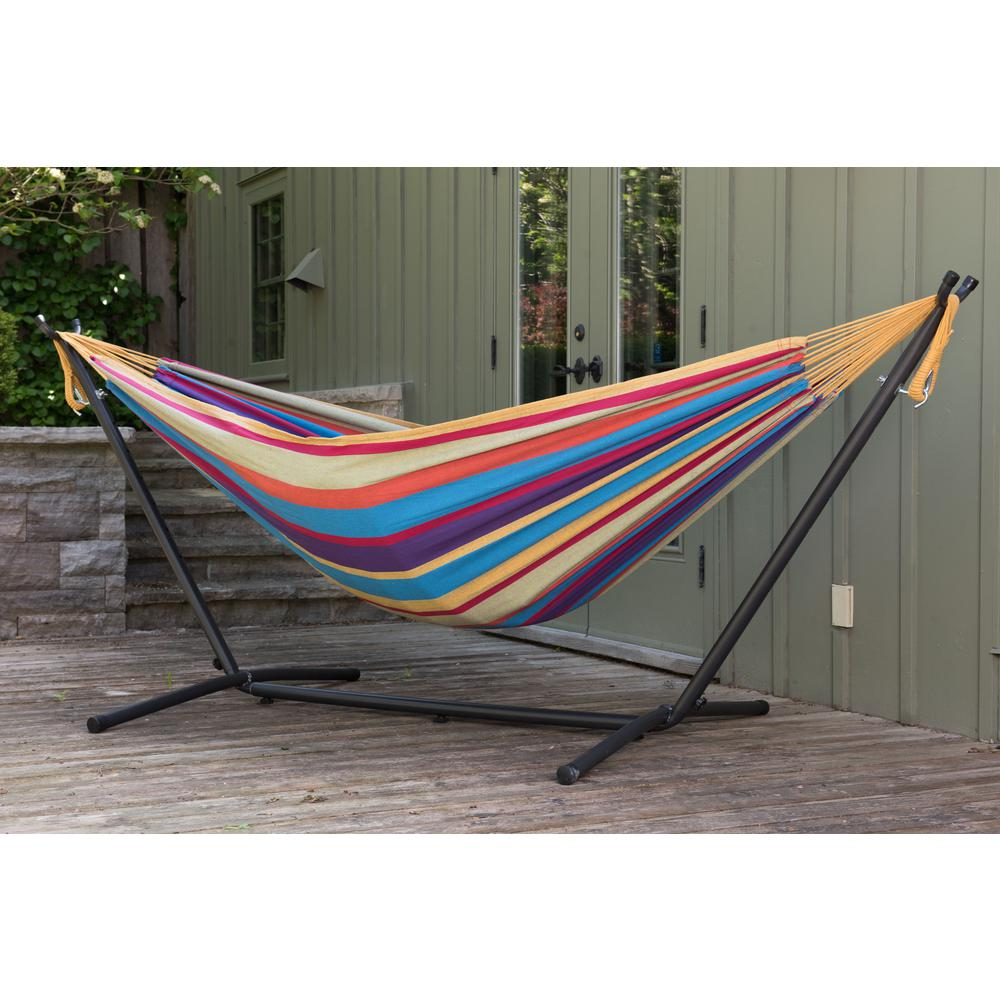 Free Standing Hammock With Metal Stand Combo Double Cotton 2 Person Patio