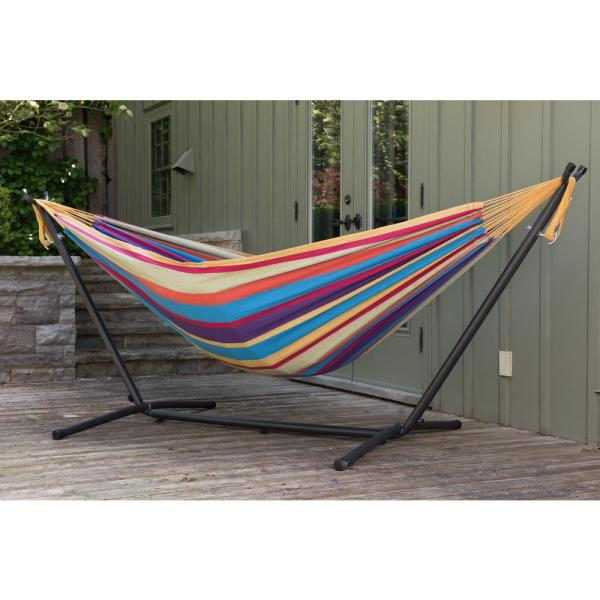 9 ft. Double Cotton Hammock with Stand in Tropical