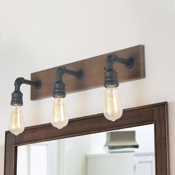 Black Bathroom Vanity Light 3-Light Rustic Metal Vanity Light Modern Industrial Water Pipe Wall Sconce with Wood Accents