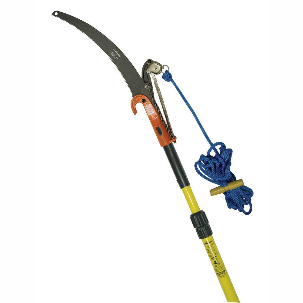 Jameson 7 14 ft telescoping pole saw with center cut pruner blade telescoping pole saw with center cut pruner blade and greentooth