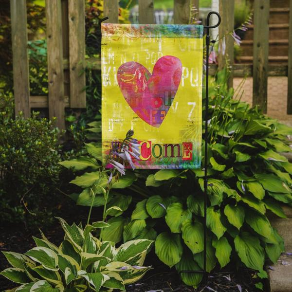 Caroline S Treasures 11 In X 15 1 2 In Polyester Artsy Welcome Heart 2 Sided 2 Ply Garden Flag Sb3099gf The Home Depot