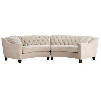 Riemann 2-Piece Microsuede Pearl Sectional