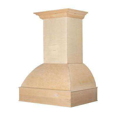 36 in. 1200 CFM Wooden Wall Mount Range Hood with Lights in Unfinished Wood