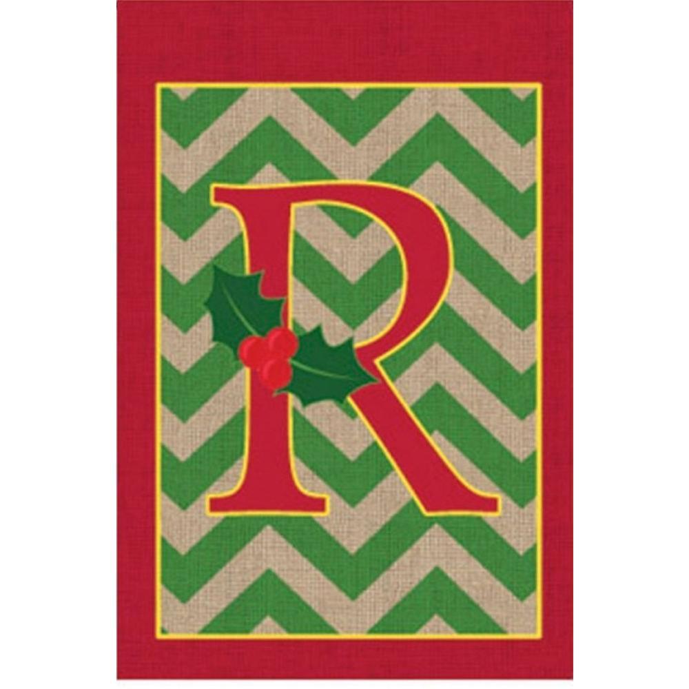 Evergreen 1 ft. x 1.5 ft. Monogrammed R Holly Burlap Garden Flag
