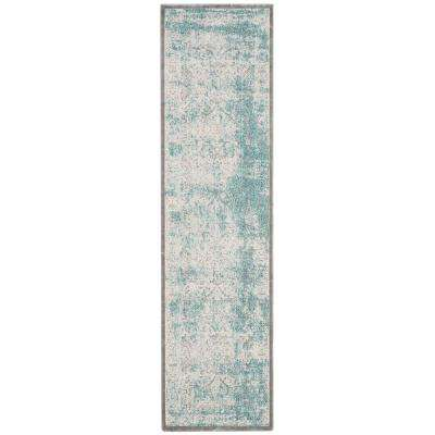 Passion Turquoise/Ivory 2 ft. 2 in. x 14 ft. Runner