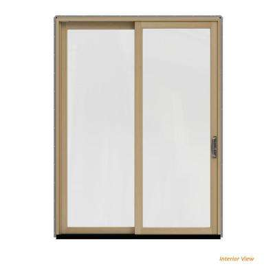 72 in. x 96 in. W-2500 Contemporary Silver Clad Wood Left-Hand Full Lite Sliding Patio Door w/Unfinished Interior