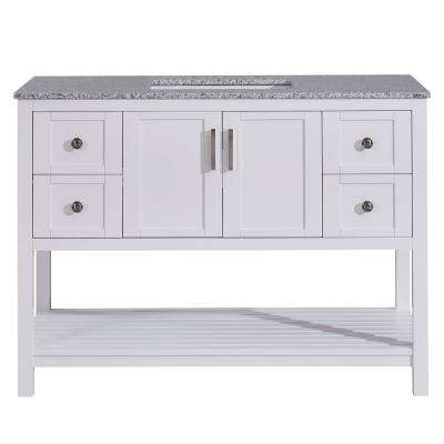 48 in. W x 22 in. D Vanity in White with Granite Vanity Top in Sesame White with White Basin