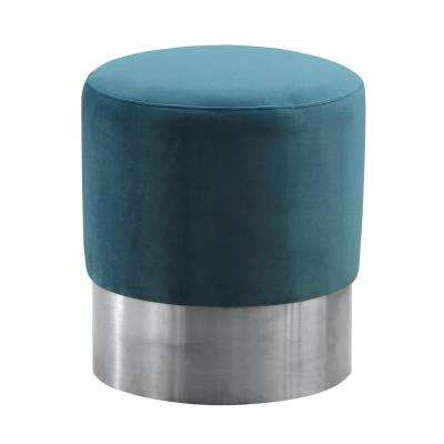 Armen Living Green Velvet Contemporary Round Ottoman in Brushed Stainless Steel