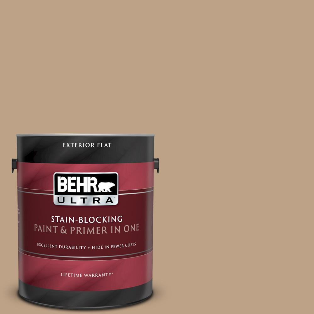 Behr Ultra 1 Gal Ppu4 05 Basketry Flat Exterior Paint And Primer In One 485401 The Home Depot