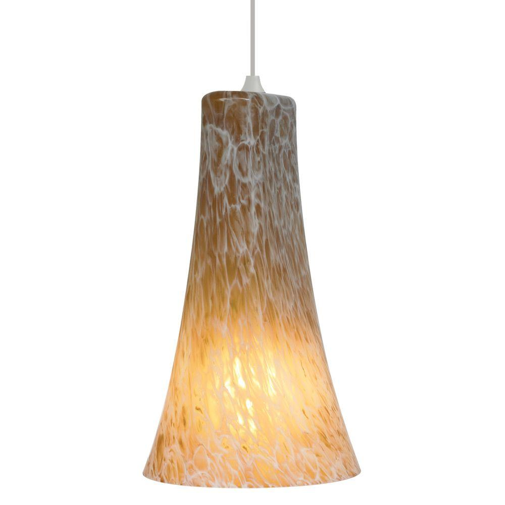 Indulgent 1-Light Satin Nickel Pendant with Amber Shade