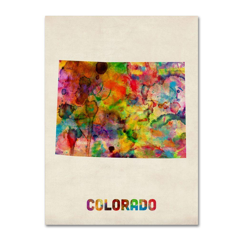 Colorado Map Art.14 In X 19 In Colorado Map Canvas Art Mt0333 C1419gg The Home Depot