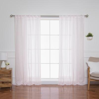 84 in. L Sheer Faux Linen Reverse Diamante Curtain Panels in Pink (2-Pack)