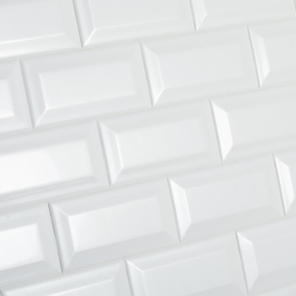 Re Bright White 3 In X 6 Ceramic Bevel Wall