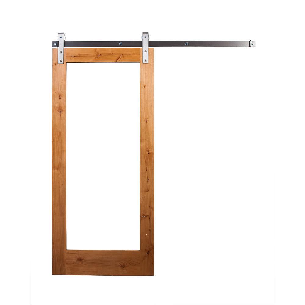 42 in. x 84 in. Clear Coat Mirror Door with Industrial Sliding Door Hardware Kit in Brushed Steel