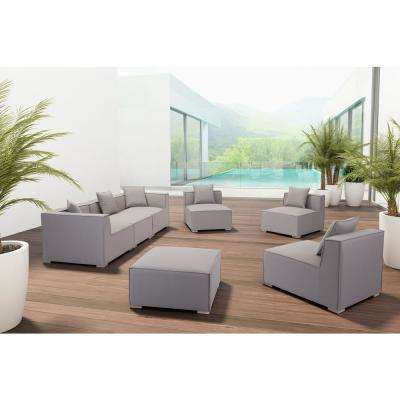 Fiji Gray Aluminum Armless Middle Outdoor Sectional Chair with Gray Cushion
