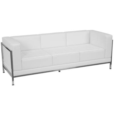 79 in. Melrose White Faux Leather 4-Seater Bridgewater Sofa with Stainless Steel Frame