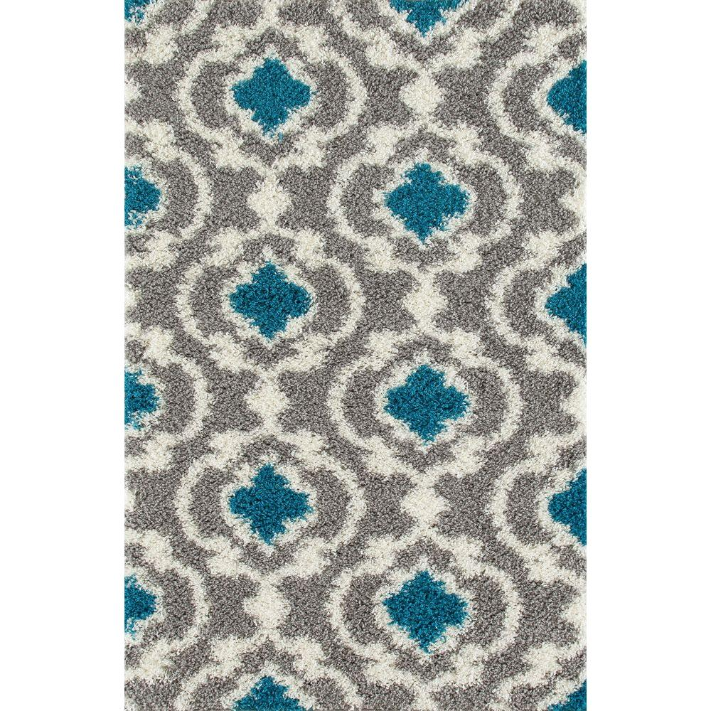 Cozy Moroccan Trellis Gray/Turquoise 7 ft. 10 in. x 10 ft.
