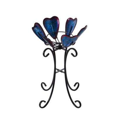 24 in. Blue and Purple Hearts Gazing Ball Stand