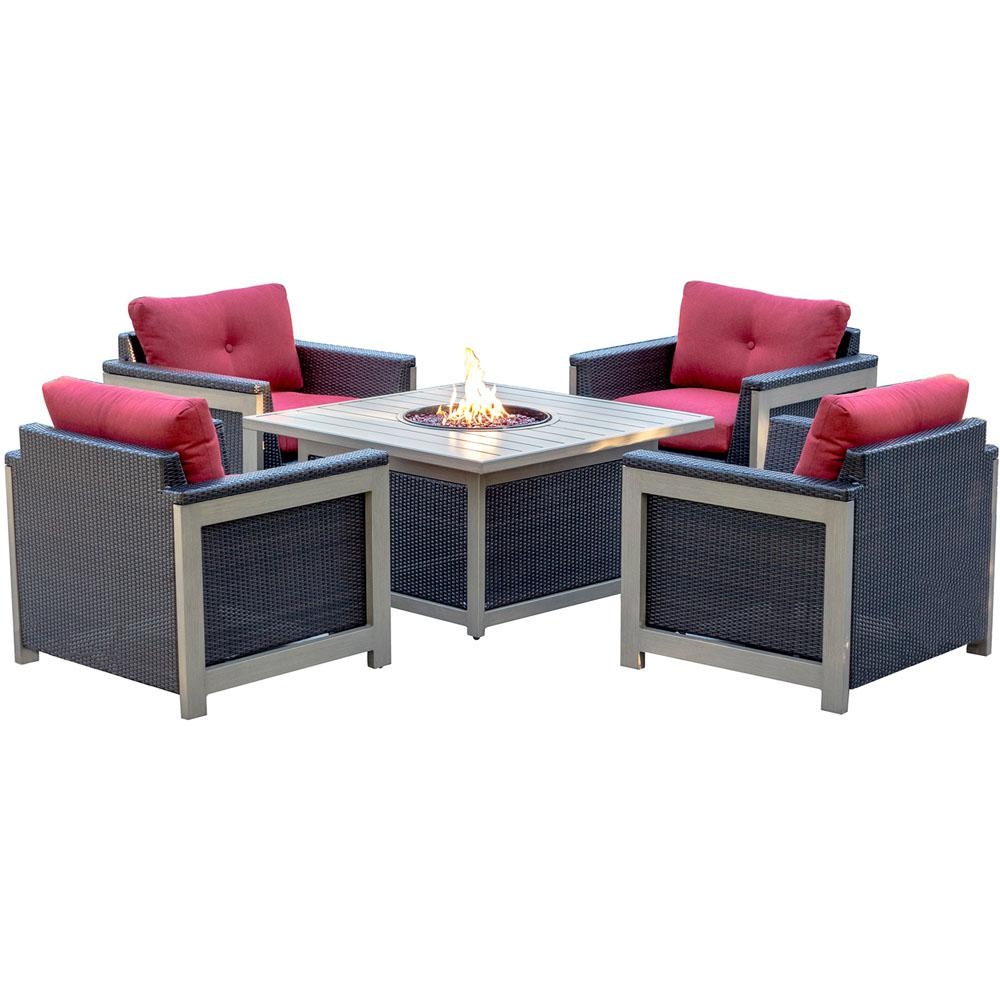 Wolf 5 Piece Wicker Patio Fire Pit Conversation Set With Red Cushions