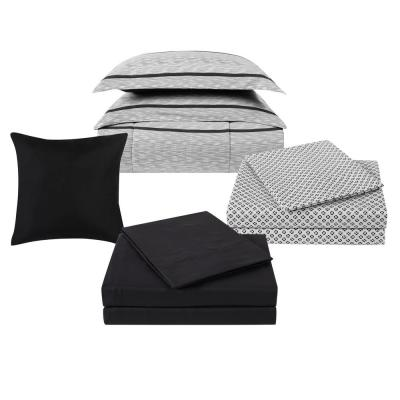 Stanton 9-Piece Ivory and Black Polyester Twin XL Comforter Set