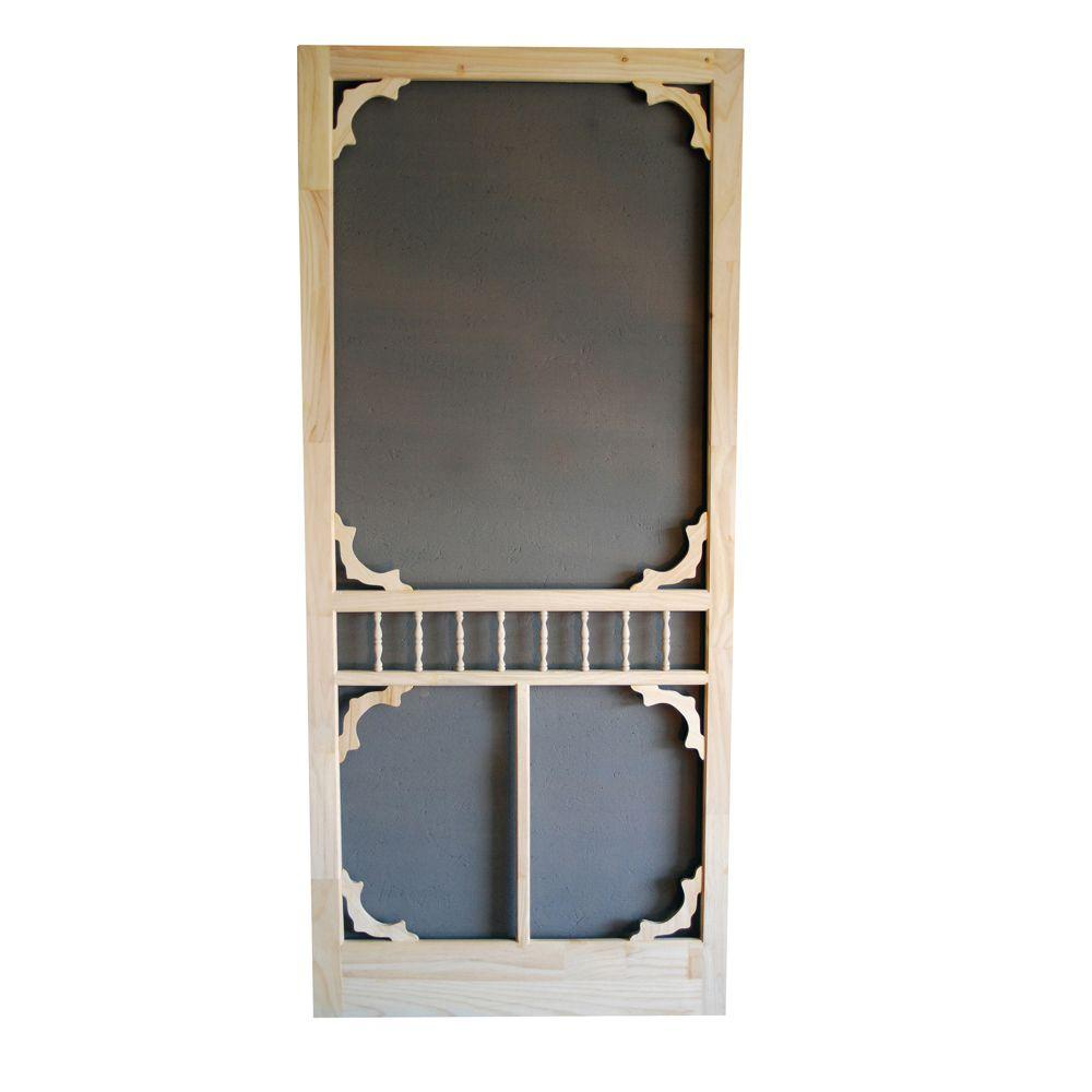 36 in. x 80 in. Colonial Wood Unfinished Screen Door