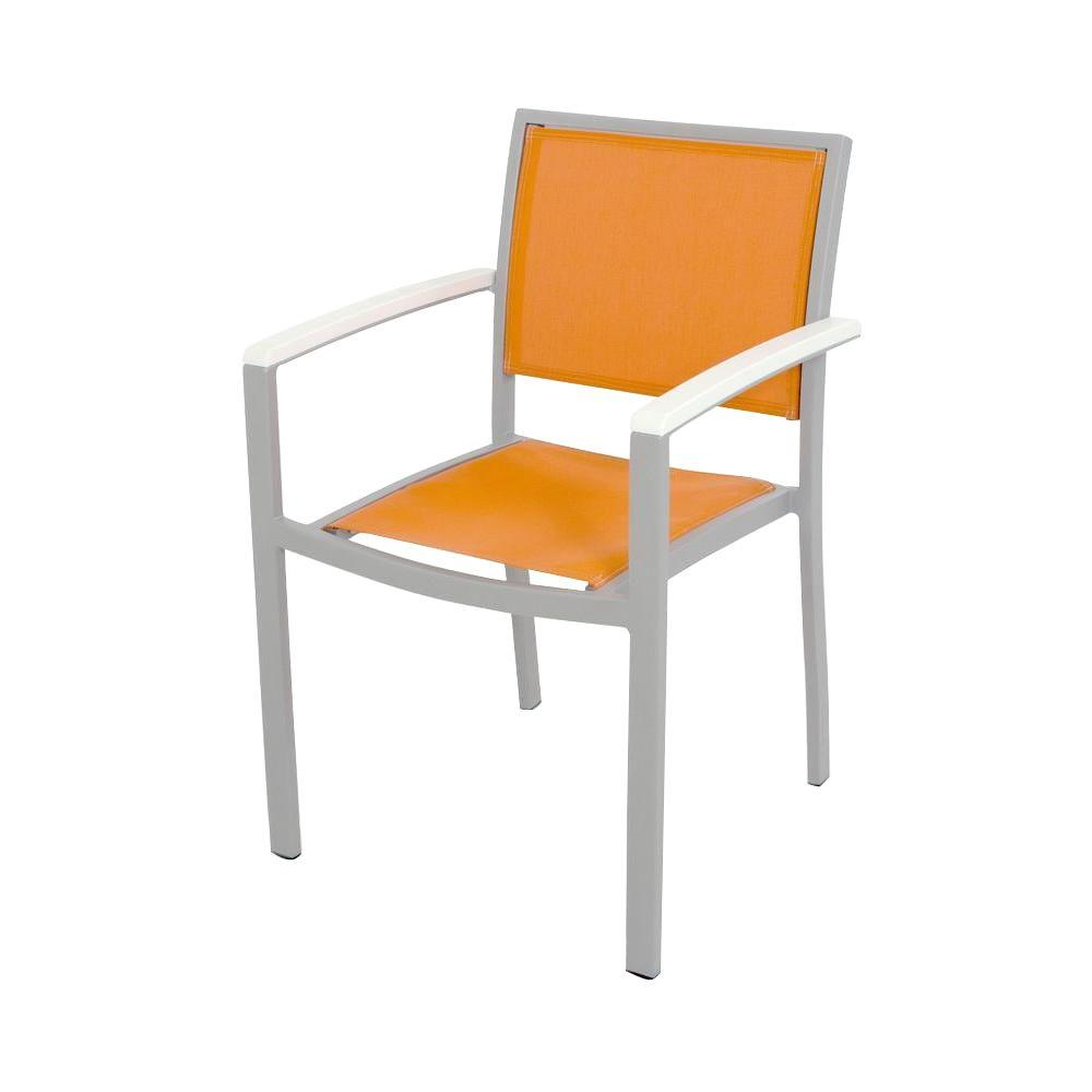 Bayline Textured Silver/White/Citrus Sling Patio Dining Arm Chair